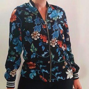 H&M DIVIDED black floral print zip up jacket, NWT